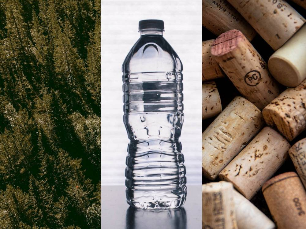erdő, műanyag palack és parafadugók – montázs